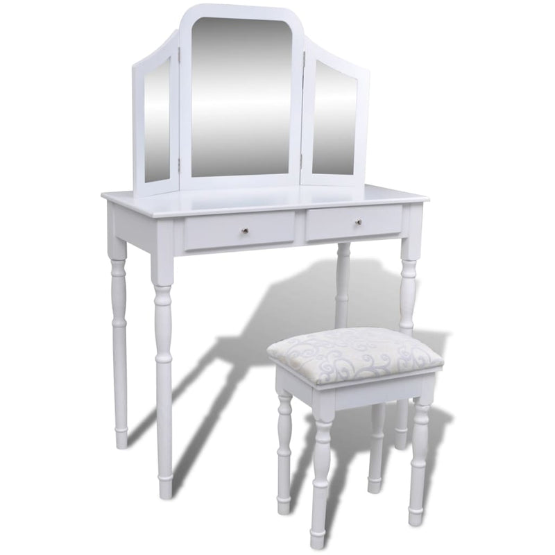 Dressing Table with 3-in-1 Mirror and Stool 2 Drawers White