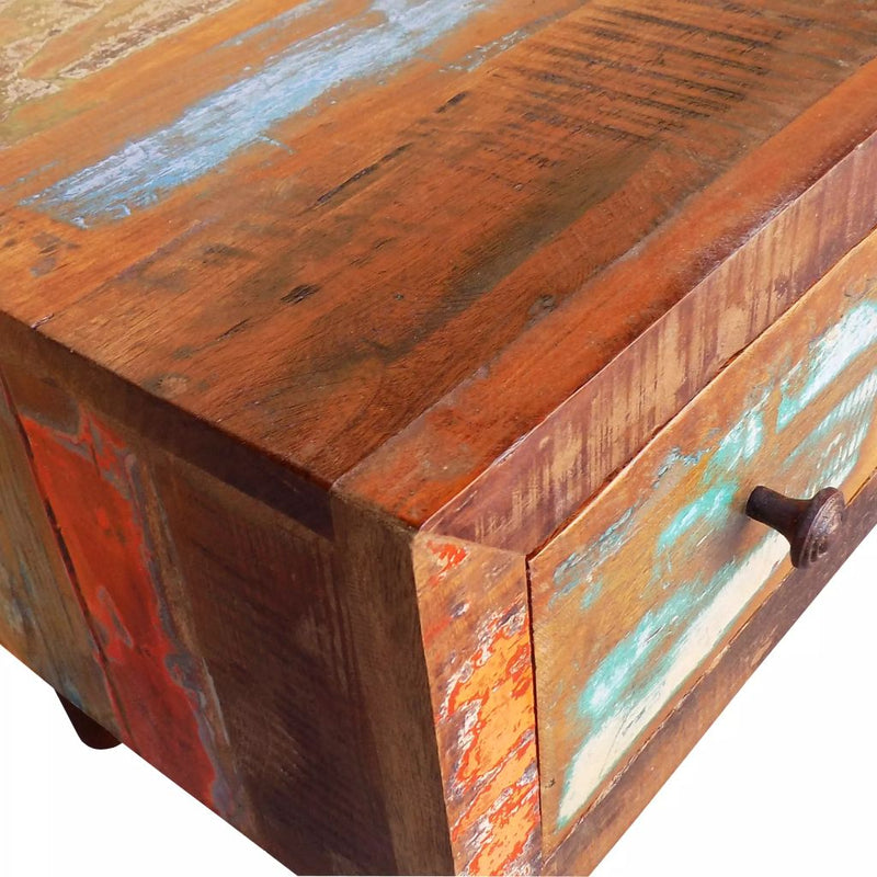 Coffee Table with Curved Edge 1 Drawer Reclaimed Wood