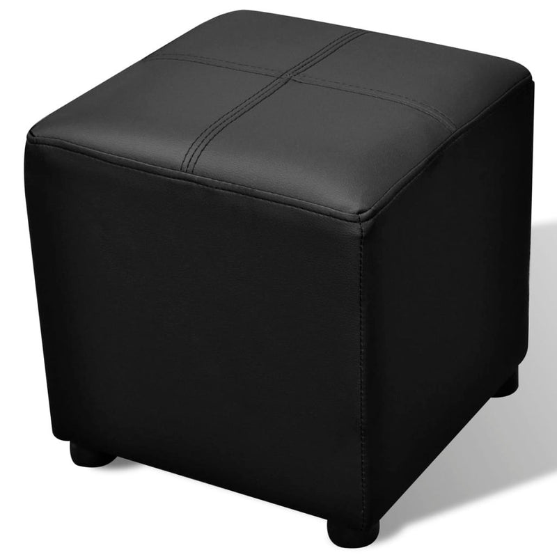 Black Artificial Leather Storage Bench Set Footrest 3 pcs
