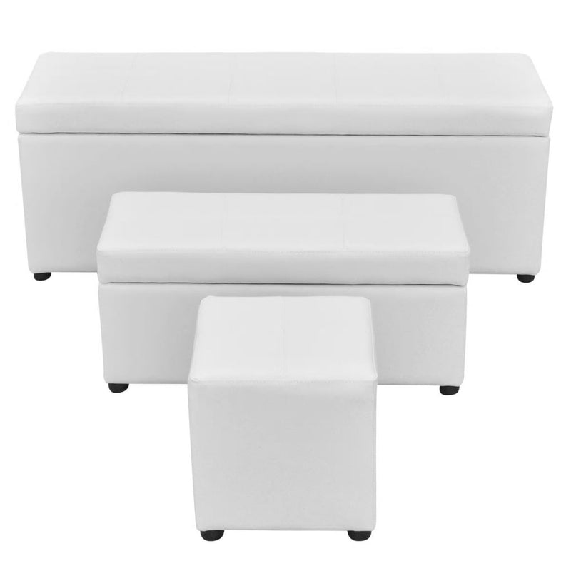 3 Piece Storage Bench Footrest Set Artificial Leather White