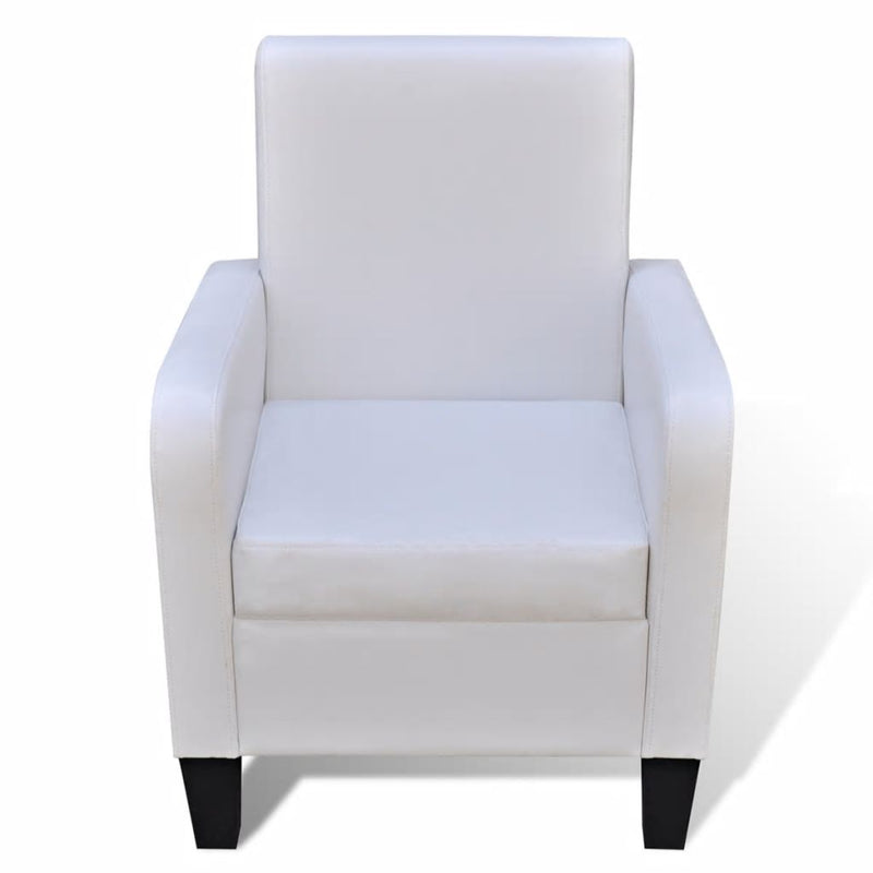 Armchair White Faux Leather