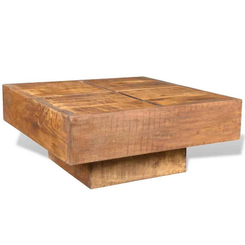 Coffee Table Brown Square Solid Mango Wood