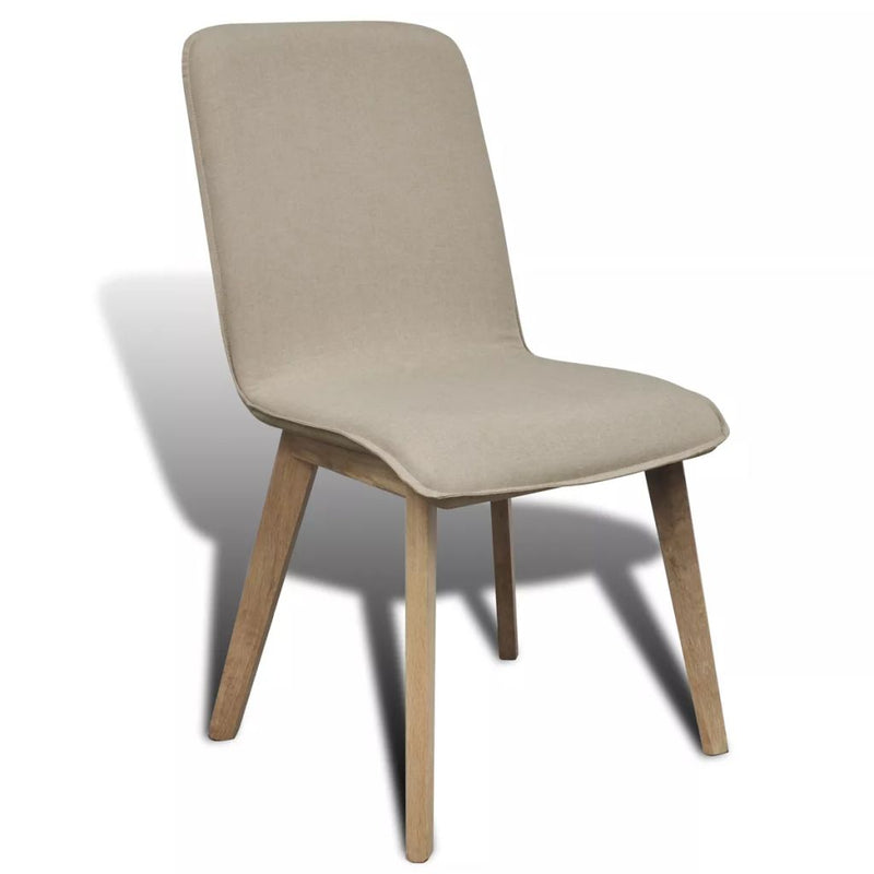 Dining Chairs 2 pcs Beige Fabric and Solid Oak Wood
