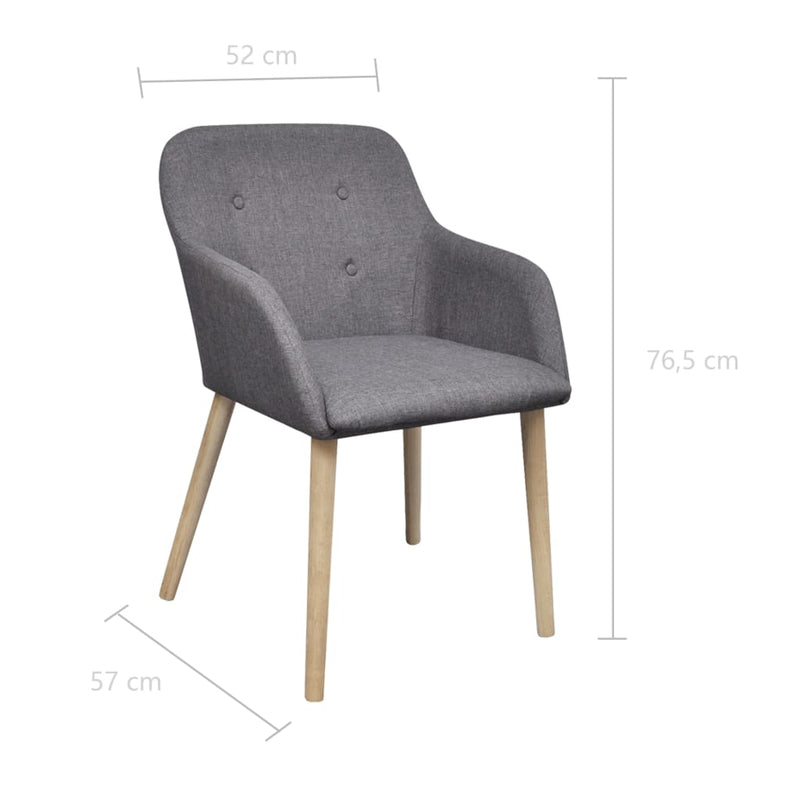 Dining Chairs 2 pcs Light Grey Fabric and Solid Oak Wood