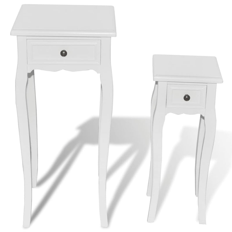 Nesting Side Table Set 2 Pieces with Drawer White