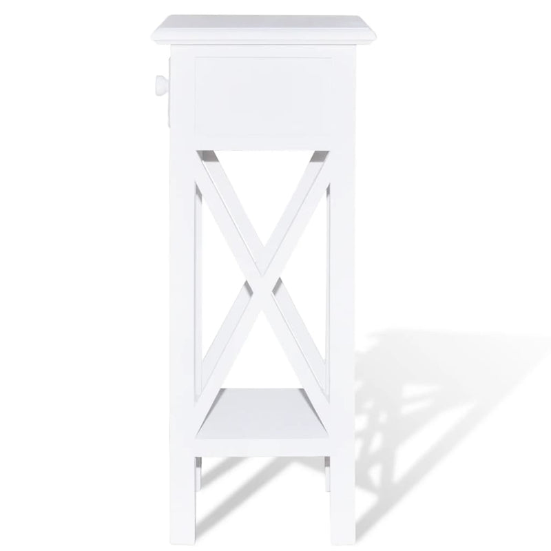 Side Table with Drawer White