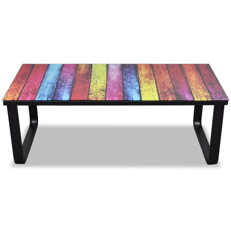 Coffee Table with Rainbow Printing Glass Top
