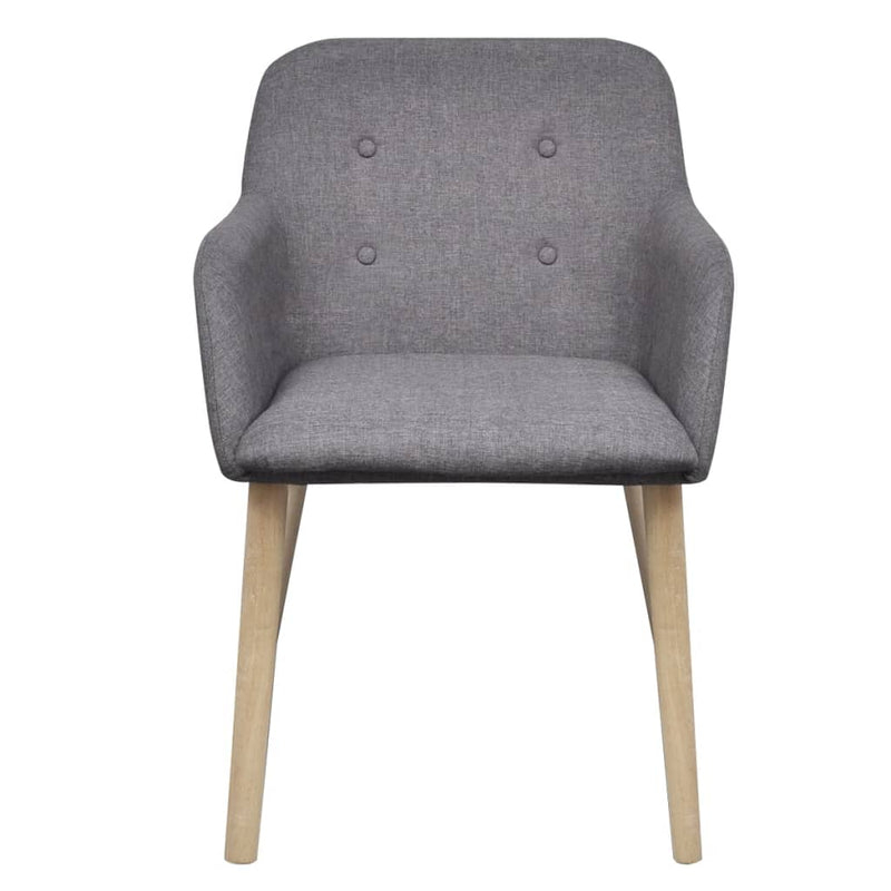 Dining Chairs 4 pcs Light Grey Fabric and Solid Oak Wood