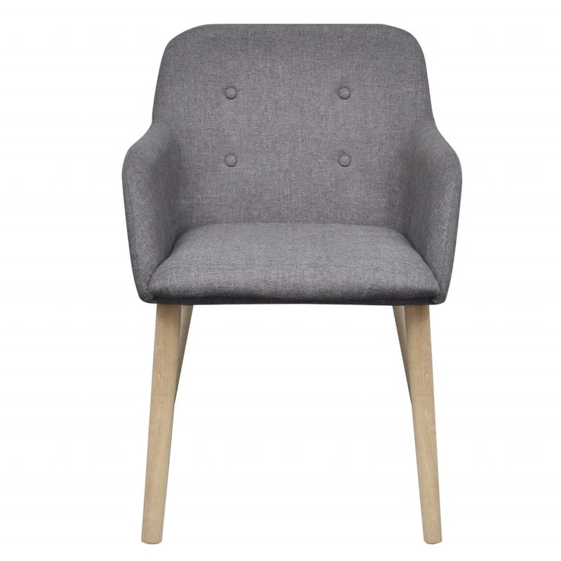 Dining Chairs 6 pcs Light Grey Fabric and Solid Oak Wood