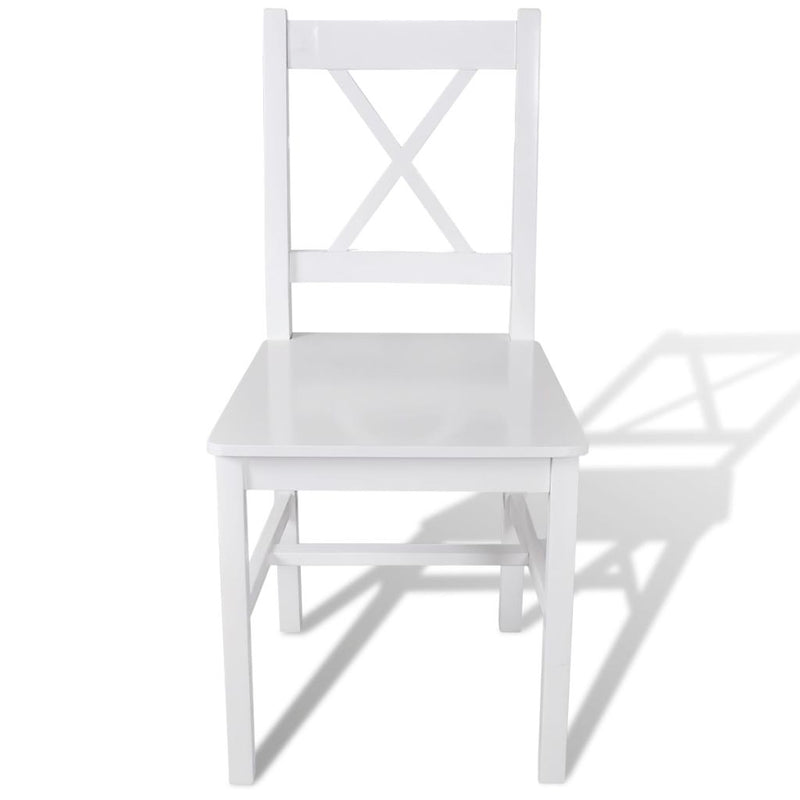 Dining Chairs 2 pcs White Pinewood