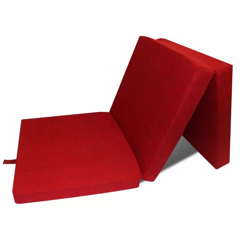 Trifold Foam Mattress 190 x 70 x 9 cm Red