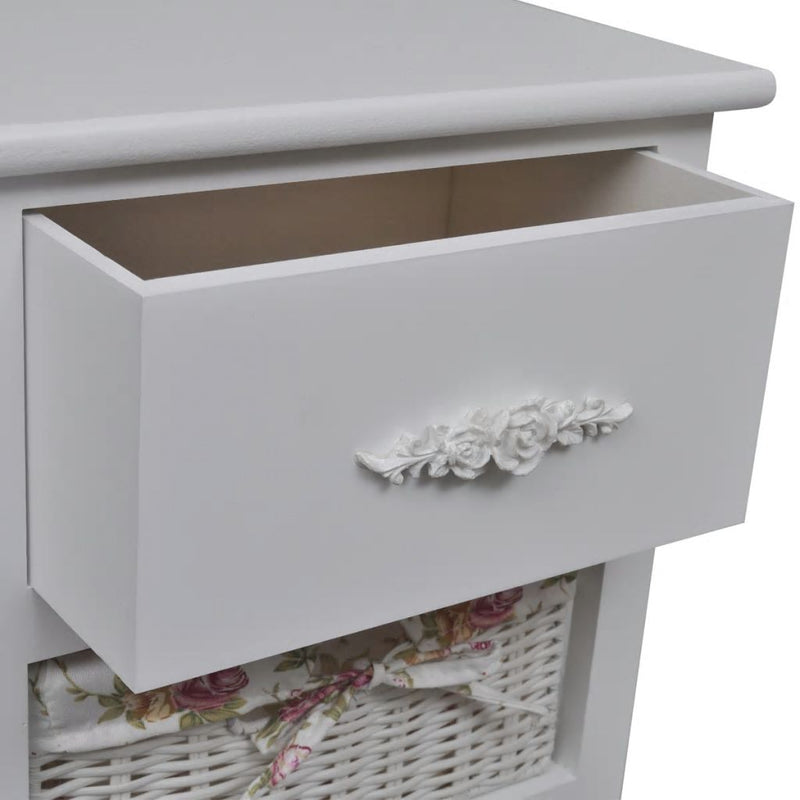 Cabinet with 1 Drawer and 2 Baskets White Wood