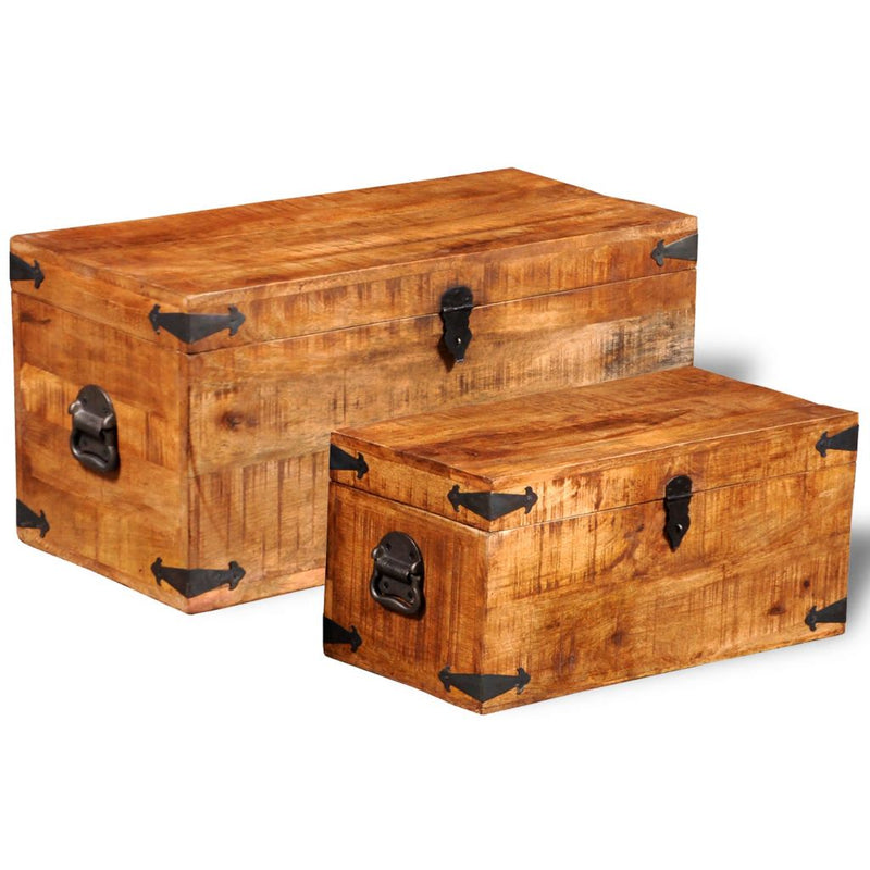 Storage Chest Set 2 Pieces Rough Mango Wood