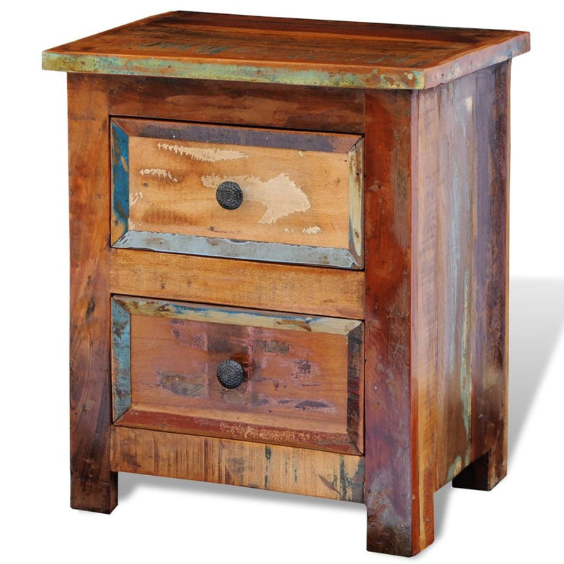 Nightstand with 2 Drawers Solid Reclaimed Wood