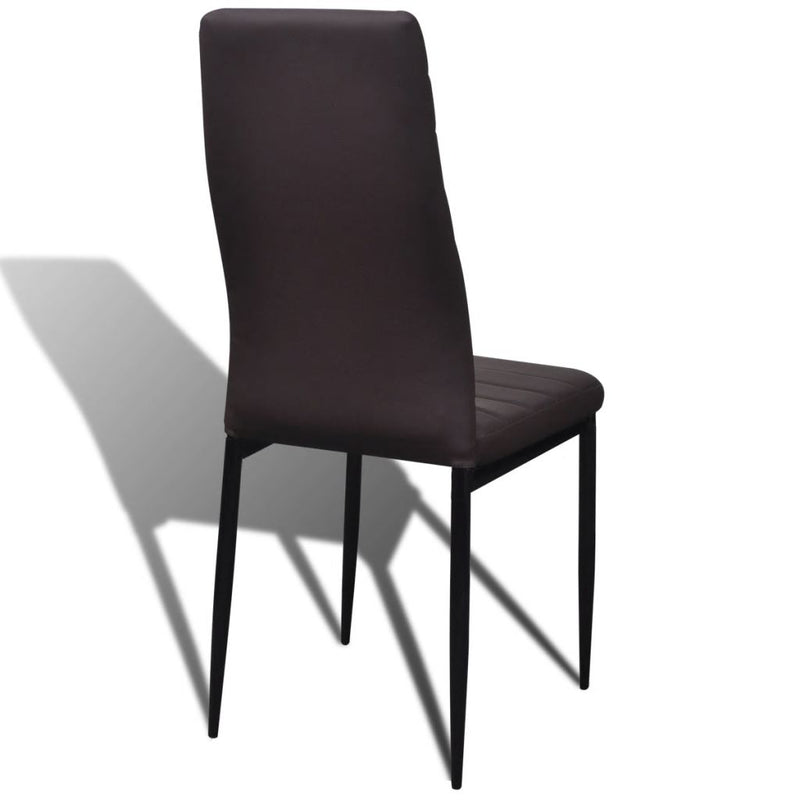 Dining Set Brown Slim Line Chair 4 pcs with 1 Glass Table