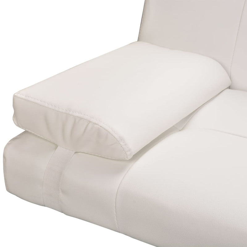 Sofa Bed with Two Pillows Artificial Leather Adjustable Cream White