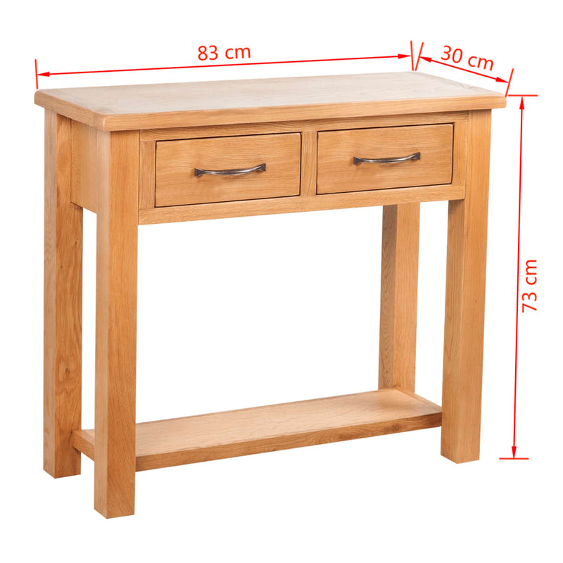 Console Table with 2 Drawers 83x30x73 cm Solid Oak Wood