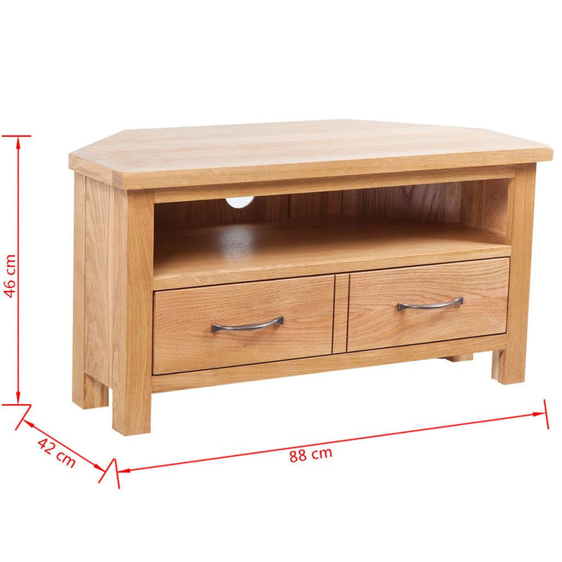 TV Cabinet with Drawer 88 x 42 x 46 cm Solid Oak Wood