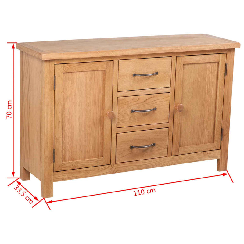 Sideboard with 3 Drawers 110x33,5x70 cm Solid Oak Wood