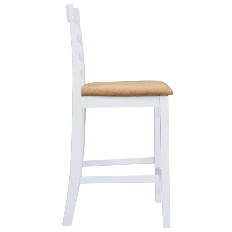 Bar Chairs 2 pcs White Fabric