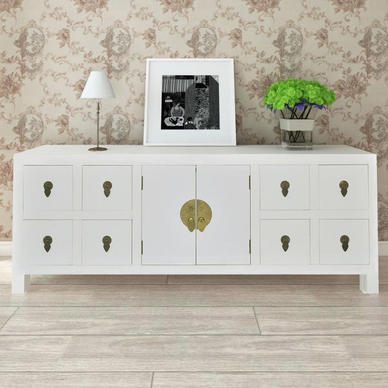 Wooden Sideboard Asian Style with 8 Drawers and 2 Doors