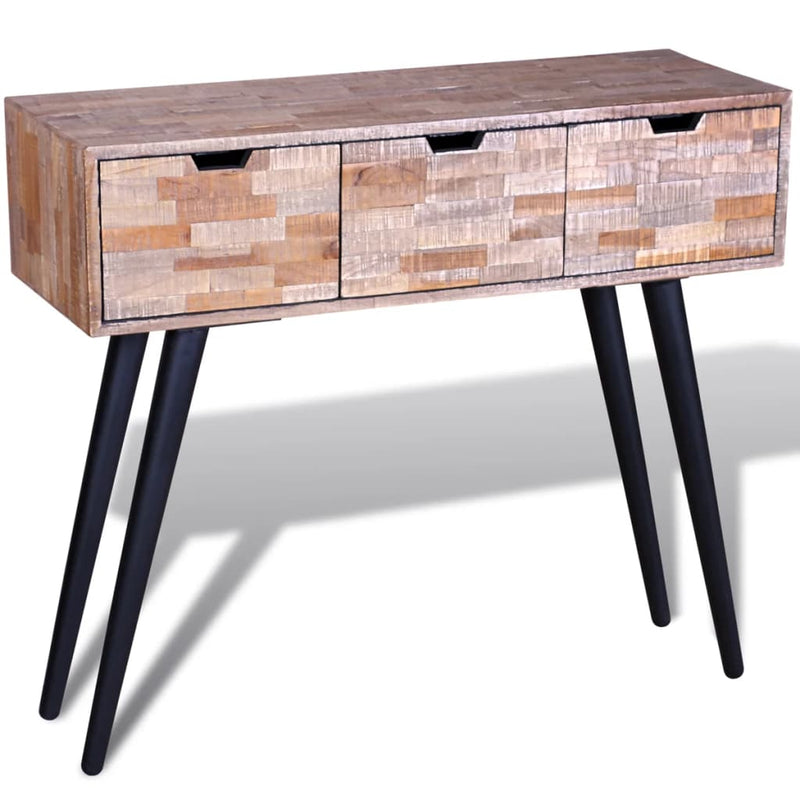 Console Table with 3 Drawers Reclaimed Teak Wood