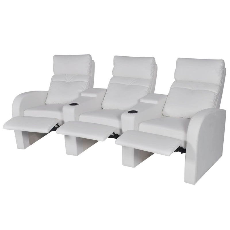 Recliner 3-seat Artificial Leather White