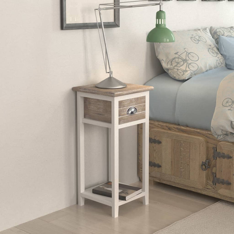 Nightstand with 1 Drawer Brown and White