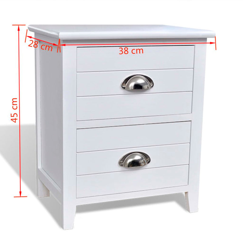 Nightstand 2 pcs with 2 Drawers White