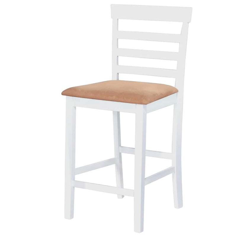 White Wooden Bar Table and 4 Bar Chairs Set
