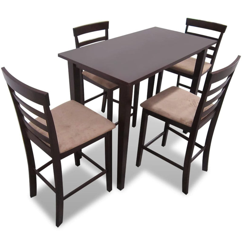 Brown Wooden Bar Table and 4 Bar Chairs Set