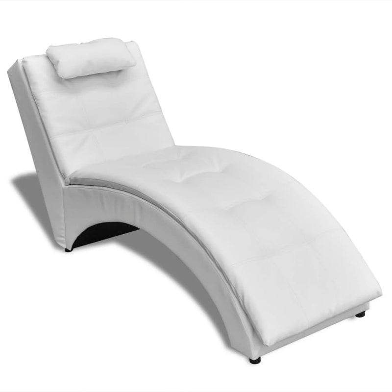 Chaise Longue with Pillow White Faux Leather