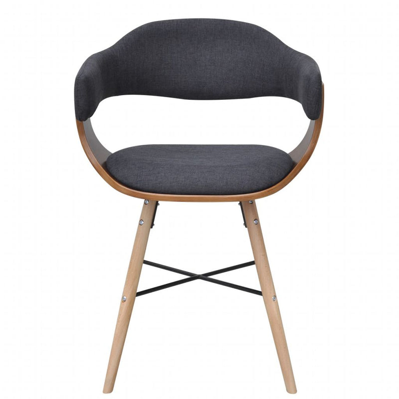 Dining Chairs 4 pcs Dark Grey Bent Wood and Fabric