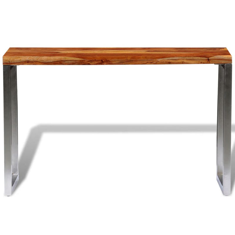 Solid Sheesham Wood Console Table with Steel Leg