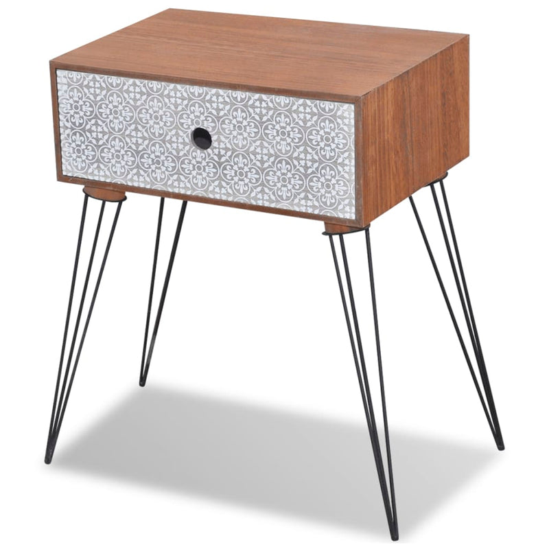 Nightstand with 1 Drawer Rectangular Brown