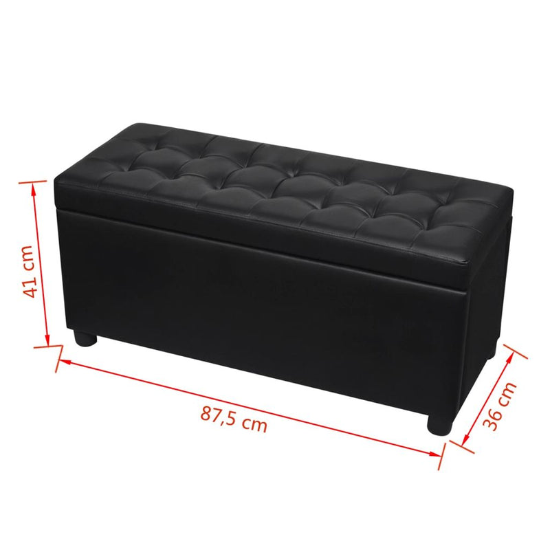 Storage Ottoman Artificial Leather Black
