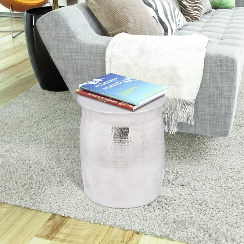 Hammered Aluminium Stool/Side Table Silver