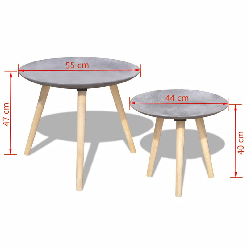 Two Piece Side Table/Coffee Table Set 55 cm&44 cm Concrete Grey
