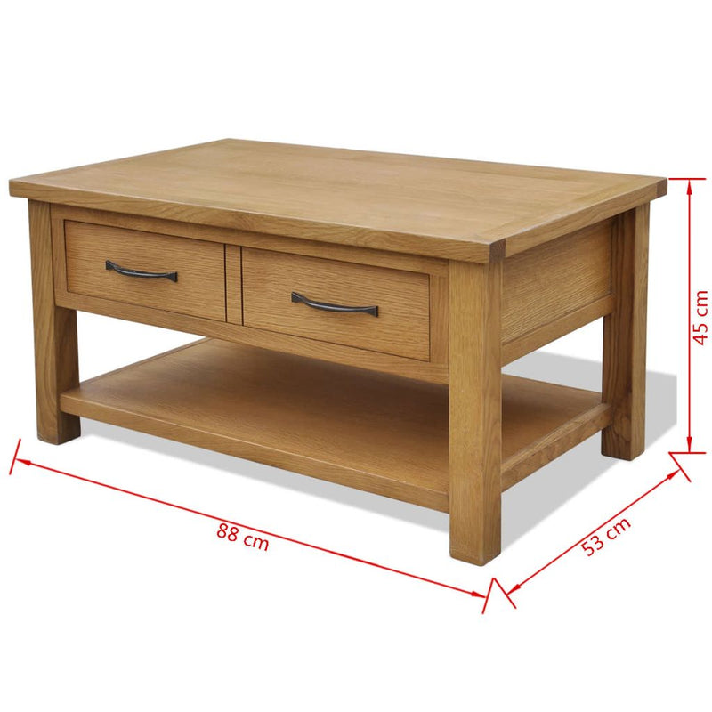 Coffee Table 88x53x45 cm Solid Oak Wood