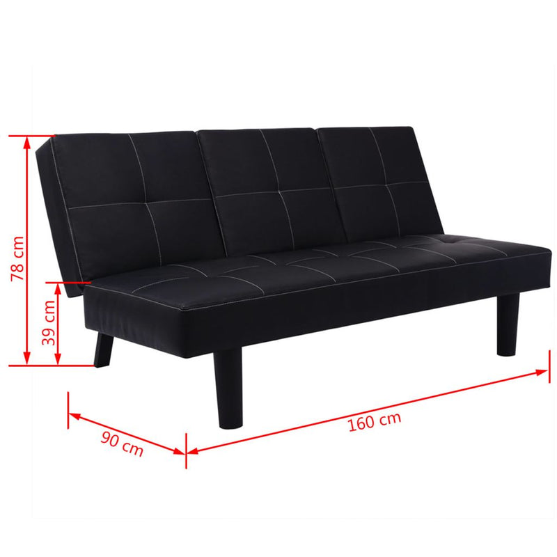 Sofa Bed with Drop-Down Table Artificial Leather Black