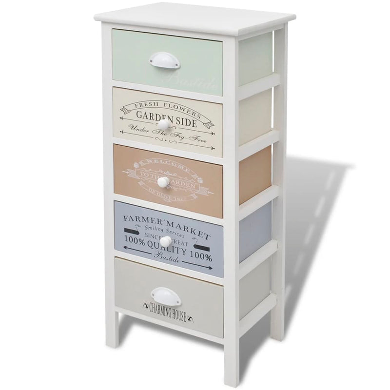 French Storage Cabinet 5 Drawers Wood