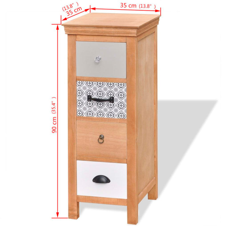 Drawer Cabinet 35x35x90 cm Solid Wood
