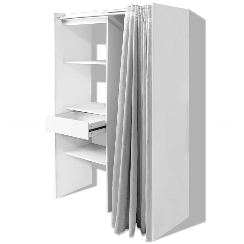 Cloth Cabinet with Curtain Adjustable in Width 121-168 cm White