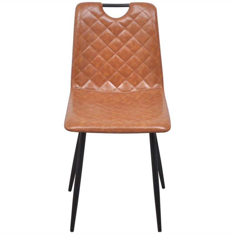 Dining Chairs 2 pcs Light Brown Faux Leather
