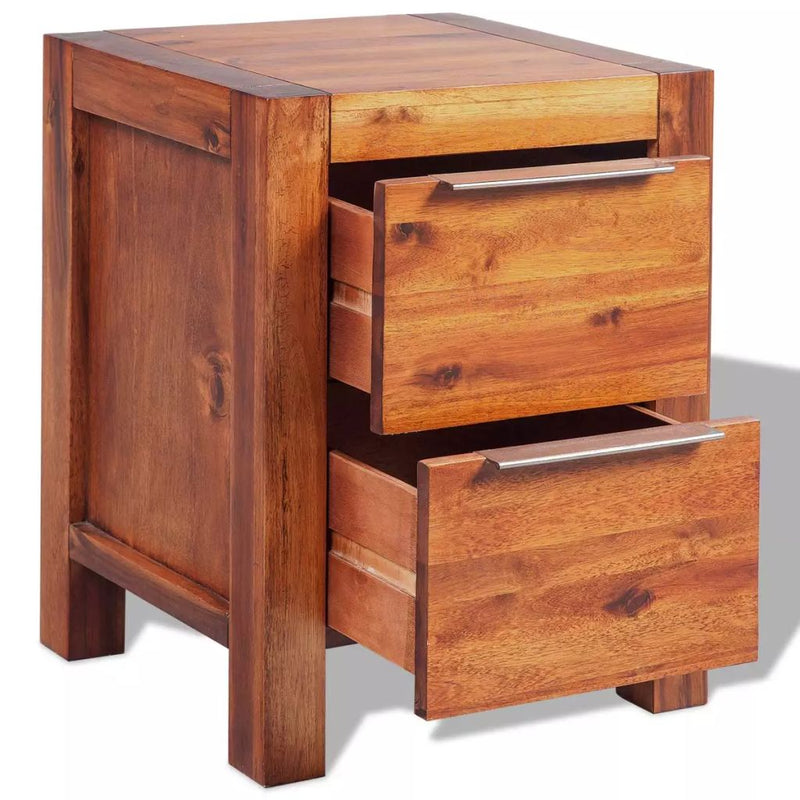 Bedside Cabinet Solid Acacia Wood Brown 45x42x58 cm