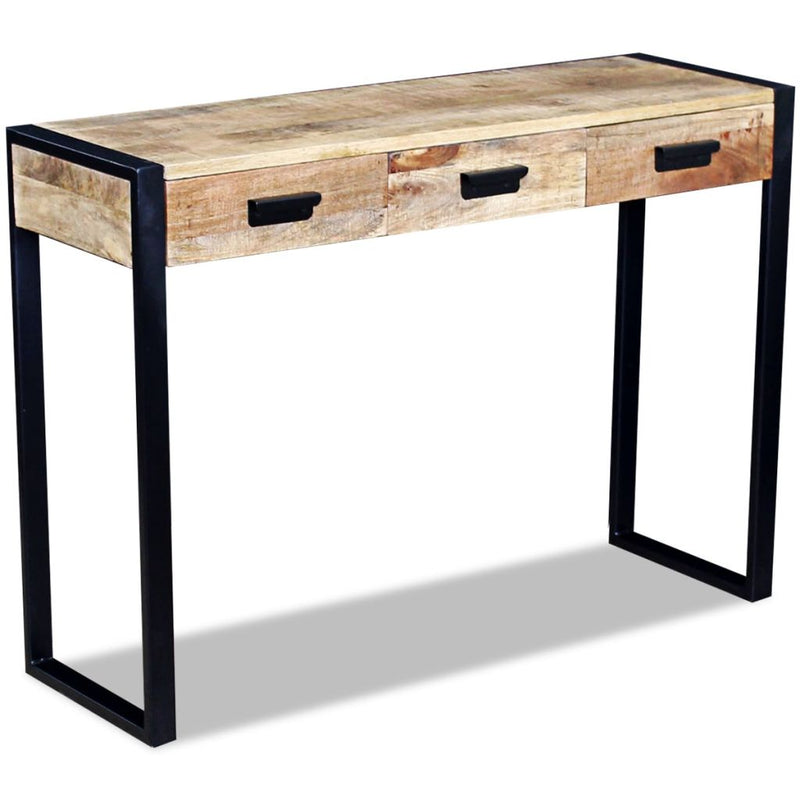Console Table with 3 Drawers Solid Mango Wood 110x35x78 cm