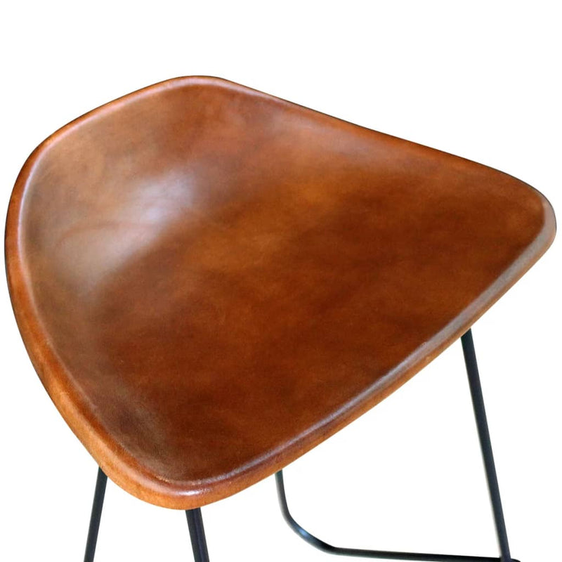 Bar Chairs 2 pcs Black and Brown Real Leather