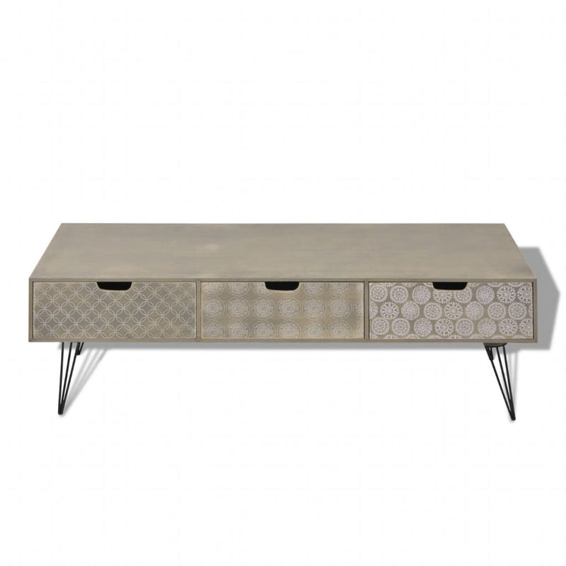 TV Cabinet with 3 Drawers 120x40x36 cm Grey