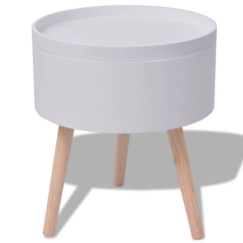 Side Table with Serving Tray Round 39.5x44.5 cm White
