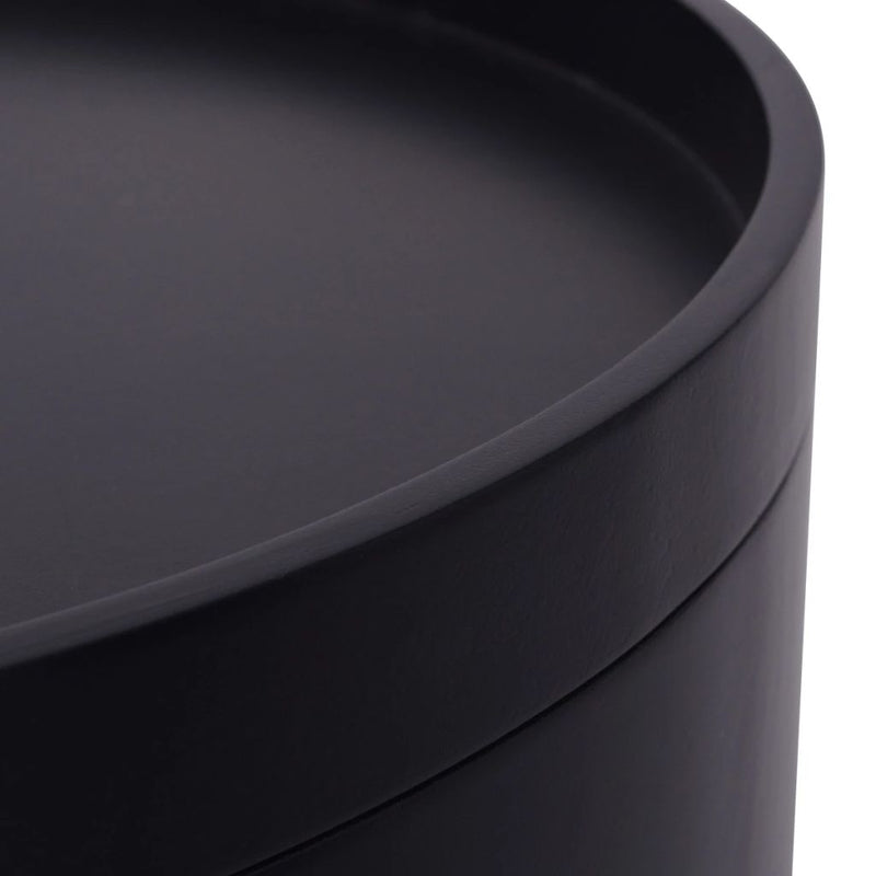 Side Table with Serving Tray Round 39.5x44.5 cm Black